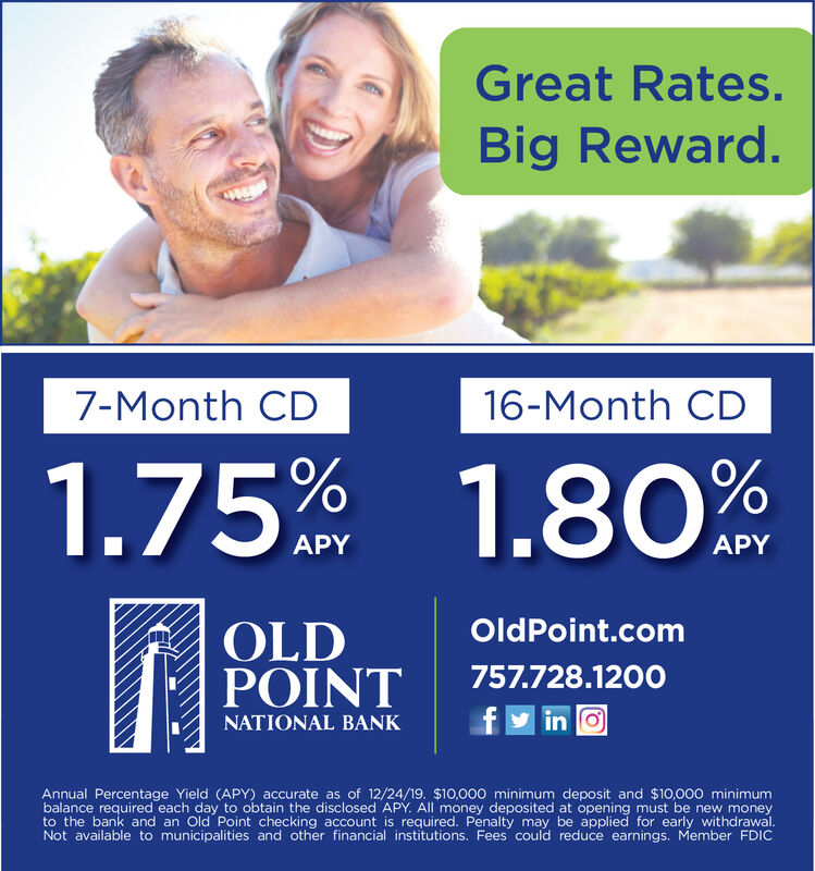 Great Rates.Big Reward.7-Month CD16-Month CD1.75% 1.80%APYAPYOldPoint.comOLDPOINT757.728.1200fy in oNATIONAL BANKAnnual Percentage Yield (APY) accurate as of 12/24/19. $10,000 minimum deposit and $10,000 minimumbalance required each day to obtain the disclosed APY. All money deposited at opening must be new moneyto the bank and an Old Point checking account is required. Penalty may be applied for early withdrawal.Not available to municipalities and other financial institutions. Fees could reduce earnings. Member FDIC Great Rates. Big Reward. 7-Month CD 16-Month CD 1.75% 1.80% APY APY OldPoint.com OLD POINT 757.728.1200 fy in o NATIONAL BANK Annual Percentage Yield (APY) accurate as of 12/24/19. $10,000 minimum deposit and $10,000 minimum balance required each day to obtain the disclosed APY. All money deposited at opening must be new money to the bank and an Old Point checking account is required. Penalty may be applied for early withdrawal. Not available to municipalities and other financial institutions. Fees could reduce earnings. Member FDIC