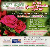 For thatIESSIE'S CARDENtreenhouse & tit Shop Special Valentinein your lifeCALL TO ORDER YOURS TODAYRed, Orange, and Hot Pink Roses $45 Dozen $25 Half Dozen$4 Single RoseAssorted ChocolateBouquet $30Allproceeds benefit individualswith developmental and/oracquired disabilities2 Park. St., Pottsville, PaMon. - Fri. 8am - 4pm | Sat. 9am - 2pm(570) 622-7368ghousesitesup@avenuesofpa.orgAvenuesT UnitedWayRouaa CPAvenues is an equal opportunity provider and employer. For that IESSIE'S CARDEN treenhouse & tit Shop Special Valentine in your life CALL TO ORDER YOURS TODAY Red, Orange, and Hot Pink Roses  $45 Dozen  $25 Half Dozen $4 Single Rose Assorted Chocolate Bouquet $30 All proceeds benefit individuals with developmental and/or acquired disabilities 2 Park. St., Pottsville, Pa Mon. - Fri. 8am - 4pm | Sat. 9am - 2pm (570) 622-7368 ghousesitesup@avenuesofpa.org AvenuesT United Way Rouaa CP Avenues is an equal opportunity provider and employer.