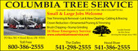 COLUMBIA TREE SERVICELicensed · Bonded Insured CCB # 137108  WA # COLUMT*015KJSmall & Large Jobs WelcomeTree Trimming & Removal · Lot & View Clearing  Cabling & BracingCrown Reduction Ornamental Pruning & TrimmingBrush Chipping  Stump Grinding24 Hour Emergency Servicewww.columbiatreeservice.netLocally Ownedby Kris ZorzaServing the Gorge since 1992PO Box 581  Hood River, OR 97031Toll FreeThe DallesHood River800-386-2555541-298-2555 541-386-2555 COLUMBIA TREE SERVICE Licensed · Bonded Insured CCB # 137108  WA # COLUMT*015KJ Small & Large Jobs Welcome Tree Trimming & Removal · Lot & View Clearing  Cabling & Bracing Crown Reduction Ornamental Pruning & Trimming Brush Chipping  Stump Grinding 24 Hour Emergency Service www.columbiatreeservice.net Locally Owned by Kris Zorza Serving the Gorge since 1992 PO Box 581  Hood River, OR 97031 Toll Free The Dalles Hood River 800-386-2555 541-298-2555 541-386-2555