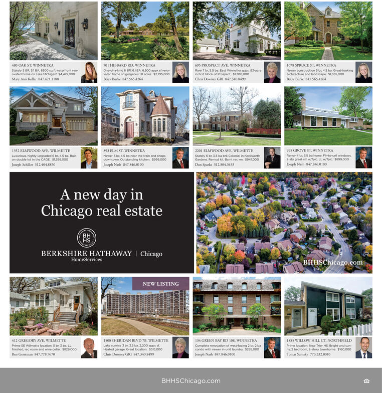 480 OAK ST, WINNETKA701 HIBBARD RD, WINNETKA695 PROSPECT AVE, WINNETKA1078 SPRUCE ST, WINNETKARare 7 br. 5.5 ba East Winnetka appx 83-acrein first block of Prospect. $1700.000Stately 5 BR. S1BA, 6300 sa ft waterfront ren-ovated home on Lake Michigant 4,479,000One-of-a-kind 6 8R 61 BA 6.500 appK st reno-Newer construction 5 be 45 ba. Great-lookingarchitecture and landscape SLOSS.000vated home on gorgeous 18 acres. $2795.000Mary Ann Kollar 847421.1188Chris Downey GRI 8473408499Betny Burke 847.565.4264Beny Burke 847.5654264995 GROVE ST. WINNETKA1352 ELMWOOD AVE, WILMETTE893 ELM ST, WINNETKA2201 ELMWOOD AVE, WILMETTELuxurious, highly-upgraded 6 br, 4.5 ba. Builton double lot in the CAGE $1.599.000Newer 5 br, 45 ba near the train and shopsdowntown Outstanding kitchen. s999,000Stately 6 br 3.5 ba brk Colonial in KenworthGordens. Remod kit. Bamt rec m. $947,000Renov 4 br. 3.5 ba home. Fir-to-cel windows2-sty great m w/olc. LL wtolc. S899.000Joseph Nash 847.846.0100Joseph Schiller 312.404.8850Joseph Nash 847.846.0100Don Sparks 312.804.3433A new day inChicago real estateHSBERKSHIRE HATHAWAY   ChicagoHomeServicesBHHSChicago.comNEW LISTING1885 WILLOW HILL CT. NORTHFIELD412 GREGORY AVE, WILMETTE1500 SHERIDAN BLVD 7B, WILMETTE134 GREEN BAY RD 108. WINNETKALoke sunrise 3 br. 35 ba. 2.200 aopx sf.Heated garage. Gernat location. $515.000Complete renovation of west-facing 2 br 2 bacondo with newer in unit laundry. $205.000Joseph Nash 847.846.0100Prime SE Wimette location. S br. 3 ba. LLPrime location. New Trier HS. Bright and sun-mx 2 bedroom, 2-story townhome. $0.000finished, nec room and wine cella. se.000Ben Gereman 847.778.7670Chris Downey GRI 847.340.8499Toman Sumiky 773.332.0010BHHSChicago.com 480 OAK ST, WINNETKA 701 HIBBARD RD, WINNETKA 695 PROSPECT AVE, WINNETKA 1078 SPRUCE ST, WINNETKA Rare 7 br. 5.5 ba East Winnetka appx 83-acre in first block of Prospect. $1700.000 Stately 5 BR. S1BA, 6300 sa ft waterfront ren- ovated home on Lake Michigant 4,479,000 One-of-a-kind 6 8R 6