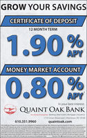 """GROW YOUR SAVINGSCERTIFICATE OF DEPOSIT12 MONTH TERM1.90%APYMONEY MARKET ACCOUNT0.80%APYIn your best interest.QUAINT OAK BANKOur Family of Companies Banking 