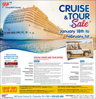 CRUISE&TQURSaleSchuylkill County0000)))January 18th toFebruary 1stWhen you bookqualifying travel withyour AAA credit card*SPECIAL CRUISE AND TOUR OFFERS(AAA Membership Required)CRUISESTOURSAzamaraOcean view staterooms receive $300 onboard credit, veranda stateroomsreceive $400 onboard credit, and suites receive $500 orboard credit.Bottle of champagne and chocolates for any sailings that are at least threeweeks outAAA Member Choice Vacations$50 per person discount combinablewith seasonal offers and memberbenefits.w VISACamivalAfrican TravelReceive a bonus tour for SouthenAfrican Highlights, IncomparabileCape Town & Safari, or ExperienceKenya.Save up to $100 per bookingSave 7.5% per person for an earlypayment discount$50 discount per bookingCelebrity CruisesComplimentary specialty dining experience valued at $100 per stateroom.Reduced deposit plus up to $300 per stateroom onboard spending credit.Reduced deposit and onboard value booklet.Receive $200 shipboard credit for balcony or higher, and $100 shipboardcredit for ocean view or below.*$100 discount valid on cruise or tour priced at $2.999or more per booking lecluding taxes fees, and airfarelnew bookings only made from 1/18/2000 - 2/1/2020. Noadjustments on previous purchases. Limit one I1) offerper membership. Offers exchude Norwegian Cruise Line.Certain restrietions appl. Offers provided and tulfiledby AAA Schuykill County.CunardHolland America LineClub AdventuresOceania CruisesInsightPrincess CruisesReceive up to $100 onboard credit, dinner for two in a specialty restaurant,priority check-in, plus reduced deposit, photo voucher, and onboarddiscount coupon booklet valued at $750.Priority check-in, bottle of sparkling wine placed in stateroom, and onecomplimentary dining experience for two (balcony stateroom and abovel.plus receive up to $100 onboard credit per stateroom based on category.Pleasant HolidaysAAA credit card programs are issued and administeredby Bank of America, NA Visa and Visa Signature areregistered trademarks of Visa Intemational ServiceAssociation and are used by the issuer pursuantto license from Visa U.SA he. C2019 Bank of AmenicaCorporationRocky MountaineerTravel ImpressionsEnjoy a free dinner at your hotel.Save $50 per reservation on all hotelpackages with a three-right minimumand $1,500 or higher.Royal CaribbeanARZ859487Special offers are available with other tour and cruise companies. Certain restrictions apply.ROCKY MOUNTAINEER  FIRST PASSAGE TO THE WEST - Calgary  Banff - KamloopsCLUB ADVENTURES NATIONAL PARKS OF THE SOUTHWESTVancouver 7 Nights  May 20-27, 2020 - Goldleaf Rait From $4,169.55USD pp double occFrom $5.2.51USD pp, single oce.7 Nights  September 23-29, 2020 - From $2.699 pp (based on double occupancyl.GROUP TRIPS:YOU ARE INVITEDIFAMILY ALASKA - NORTHBOUND ALASKA & HUBBARD GLACIER - Radiance of the Seas fromVancouver to Seward 7-nights  August 7-14, 2020  Ocean View S399 pp-taxestbased onHALLOWEEN AT SEA  PERFECT DAY BAHAMAS CRUISE - Oasis of the Seas round-trip CapeLiberty, NJ 7-nights  October 25 - November 1, 200  Interior S29 pprtaxes(based on double occupancy)  Balcony $969 ppetaxes/based on double occupancyl.double occupancy)  Balcony S1,619 pp + taxeslbased on double occupancyl.OFFICE HOURS: Mon, Wed, Thurs, Fri. 9:00 a.m. - 5.00 p.m.Tues. 9:00 a.m. - 7:00 p.m.  Sat. 9:00 a.m. - Noon340 South Centre St., Pottsville, PA 17901  (570) 622-4991Schuylkill County CRUISE &TQUR Sale Schuylkill County 0000))) January 18th to February 1st When you book qualifying travel with your AAA credit card* SPECIAL CRUISE AND TOUR OFFERS (AAA Membership Required) CRUISES TOURS Azamara Ocean view staterooms receive $300 onboard credit, veranda staterooms receive $400 onboard credit, and suites receive $500 orboard credit. Bottle of champagne and chocolates for any sailings that are at least three weeks out AAA Member Choice Vacations $50 per person discount combinable with seasonal offers and member benefits. w VISA Camival African Travel Receive a bonus tour for Southen African Highlights, Incomparabile Cape Town & Safari, or Experience Kenya. Save up to $100 per booking Save 7.5% per person for an early payment discount $50 discount per booking Celebrity Cruises Complimentary specialty dining experience valued at $100 per stateroom. Reduced deposit plus up to $300 per stateroom onboard spending credit. Reduced deposit and onboard value booklet. Receive $200 shipboard credit for balcony or higher, and $100 shipboard credit for ocean view or below. *$100 discount valid on cruise or tour priced at $2.999 or more per booking lecluding taxes fees, and airfarel new bookings only made from 1/18/2000 - 2/1/2020. No adjustments on previous purchases. Limit one I1) offer per membership. Offers exchude Norwegian Cruise Line. Certain restrietions appl. Offers provided and tulfiled by AAA Schuykill County. Cunard Holland America Line Club Adventures Oceania Cruises Insight Princess Cruises Receive up to $100 onboard credit, dinner for two in a specialty restaurant, priority check-in, plus reduced deposit, photo voucher, and onboard discount coupon booklet valued at $750. Priority check-in, bottle of sparkling wine placed in stateroom, and one complimentary dining experience for two (balcony stateroom and abovel. plus receive up to $100 onboard credit per stateroom based on category. Pleasant Holidays AAA credit card programs are issued and administered by Bank of America, NA Visa and Visa Signature are registered trademarks of Visa Intemational Service Association and are used by the issuer pursuant to license from Visa U.SA he. C2019 Bank of Amenica Corporation Rocky Mountaineer Travel Impressions Enjoy a free dinner at your hotel. Save $50 per reservation on all hotel packages with a three-right minimum and $1,500 or higher. Royal Caribbean ARZ859487 Special offers are available with other tour and cruise companies. Certain restrictions apply. ROCKY MOUNTAINEER  FIRST PASSAGE TO THE WEST - Calgary  Banff - Kamloops CLUB ADVENTURES NATIONAL PARKS OF THE SOUTHWEST Vancouver 7 Nights  May 20-27, 2020 - Goldleaf Rait From $4,169.55USD pp double occ From $5.2.51USD pp, single oce. 7 Nights  September 23-29, 2020 - From $2.699 pp (based on double occupancyl. GROUP TRIPS: YOU ARE INVITEDI FAMILY ALASKA - NORTHBOUND ALASKA & HUBBARD GLACIER - Radiance of the Seas from Vancouver to Seward 7-nights  August 7-14, 2020  Ocean View S399 pp-taxestbased on HALLOWEEN AT SEA  PERFECT DAY BAHAMAS CRUISE - Oasis of the Seas round-trip Cape Liberty, NJ 7-nights  October 25 - November 1, 200  Interior S29 pprtaxes (based on double occupancy)  Balcony $969 ppetaxes/based on double occupancyl. double occupancy)  Balcony S1,619 pp + taxeslbased on double occupancyl. OFFICE HOURS: Mon, Wed, Thurs, Fri. 9:00 a.m. - 5.00 p.m. Tues. 9:00 a.m. - 7:00 p.m.  Sat. 9:00 a.m. - Noon 340 South Centre St., Pottsville, PA 17901  (570) 622-4991 Schuylkill County