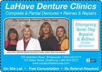 LaHave Denture ClinicsComplete & Partial Dentures  Relines & RepairsThe LaHave Denture Clinic TeamEmergencySame DayRepairs& Relines(Call forinformation)Jenny Zinck, Denturist Maureen Doucet DD, Audrey Andrus Hebb, Emma Bruhm.129 Aberdeen Road, Bridgewater 902-543-5111157 Water Street, Shelburne  902-875-2272www.novascotiadentures.comACCREDITEDDUSINESSOn-Site Lab  Free Consulatation  No Referral Required. LaHave Denture Clinics Complete & Partial Dentures  Relines & Repairs The LaHave Denture Clinic Team Emergency Same Day Repairs & Relines (Call for information) Jenny Zinck, Denturist Maureen Doucet DD, Audrey Andrus Hebb, Emma Bruhm. 129 Aberdeen Road, Bridgewater 902-543-5111 157 Water Street, Shelburne  902-875-2272 www.novascotiadentures.com ACCREDITED DUSINESS On-Site Lab  Free Consulatation  No Referral Required.