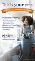 This is your year.2019 SBA 7(a) Lender of the YearBusiness Lending Commercial RealEstate Lending Equipment Financing Business Linesof CreditNavigantUNIONCREDITnavigantcu.org/businessFederally insured by NCUA. NMLS#462987 This is your year. 2019 SBA 7(a) Lender of the Year Business Lending  Commercial Real Estate Lending  Equipment Financing  Business Lines of Credit Navigant UNION CREDIT navigantcu.org/business Federally insured by NCUA. NMLS#462987