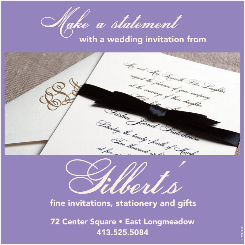 Make a slalementwith a wedding invitation frombmd Mer Kanlh Seler Langhlineguest the pleasure of your cmpanyal the mariage of thár daughlerSislan Jared JaloriwweSalanday, the hiwanly - fuarlh of MaretTuo husandal fiveFillert's72 Center Square  East Longmeadow413.525.5084fine invitations, stationery and gifts3117147-01 Make a slalement with a wedding invitation from bmd Mer Kanlh Seler Langhlin eguest the pleasure of your cmpany al the mariage of thár daughler Sislan Jared Jaloriwwe Salanday, the hiwanly - fuarlh of Maret Tuo husand al five Fillert's 72 Center Square  East Longmeadow 413.525.5084 fine invitations, stationery and gifts 3117147-01