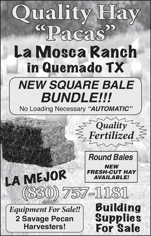 "Quality Hay$PacasLa Mosca Ranchin Quemado TXNEW SQUARE BALEBUNDLE!!!No Loading Necessary ""AUTOMATIC""QualityFertilizedRound BalesNEWFRESH-CUT HAYAVAILABLE!LA MEJOR(830) 757-1181BuildingSuppliesFor SaleEquipment For Sale!!2 Savage PecanHarvesters! Quality Hay $Pacas La Mosca Ranch in Quemado TX NEW SQUARE BALE BUNDLE!!! No Loading Necessary ""AUTOMATIC"" Quality Fertilized Round Bales NEW FRESH-CUT HAY AVAILABLE! LA MEJOR (830) 757-1181 Building Supplies For Sale Equipment For Sale!! 2 Savage Pecan Harvesters!"
