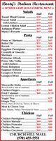 Booty's Italian Restaurant* SUNDAY GAME DAY CATERING MENU *SaladsFullHalf$20**.......$40.$25 ...$45$30.$40.$45.$45Tossed Mixed GreensCaesar Saladwith ChickenLemon Chicken Salad .Antipasto PlatterMama's Favorite.$60.$75..........PastaHalfFullPenne w/ MarinaraBaked Ziti$25 . .$45.$35.$60.$70$40.$35.$70...******.RavioliEggplant ParmigianaCavatelli or GnocchiMarinara$35..$35$35.$45.$40.$45$45.$50*...$70$70$70.$90.$80$85Fettucine AlfredoPenne Alla Vodkawith Chicken..Penne BologneseEggplant RollatiniLasagna (Cheese)Lasagna (Meat).$90$100AppetizersHalfFull$35..$60Mozzarella SticksServed with a side of marinaraChicken FingersFried CalamariServed with a side of marinaraVeggie TrayHoagie TrayItalian, Ham & Cheese, Turkey & CheeseMeat & Cheese Tray$35 ...$60...$60..$120.$25.$20$30Ham, Salami, Turkey Provolone & Swiss ...ChickenHalfFullChicken ParmigianaChicken MarsalaChicken FrancaiseChicken PiccataChicken Cacciatore$40.$40.$40.$40$40$80.$80.$80$80.$80CHURCH HILL MALL(570) 455-5551 Booty's Italian Restaurant * SUNDAY GAME DAY CATERING MENU * Salads Full Half $20 **.......$40 .$25 ...$45 $30 .$40 .$45 .$45 Tossed Mixed Greens Caesar Salad with Chicken Lemon Chicken Salad . Antipasto Platter Mama's Favorite .$60 .$75 .......... Pasta Half Full Penne w/ Marinara Baked Ziti $25 . .$45 .$35 .$60 .$70 $40 .$35 .$70 ...******. Ravioli Eggplant Parmigiana Cavatelli or Gnocchi Marinara $35. .$35 $35. $45. $40 .$45 $45 .$50 *...$70 $70 $70 .$90 .$80 $85 Fettucine Alfredo Penne Alla Vodka with Chicken.. Penne Bolognese Eggplant Rollatini Lasagna (Cheese) Lasagna (Meat) .$90 $100 Appetizers Half Full $35 ..$60 Mozzarella Sticks Served with a side of marinara Chicken Fingers Fried Calamari Served with a side of marinara Veggie Tray Hoagie Tray Italian, Ham & Cheese, Turkey & Cheese Meat & Cheese Tray $35 ... $60. ..$60 ..$120 .$25 .$20 $30 Ham, Salami, Turkey Provolone & Swiss ... Chicken Half Full Chicken Parmigiana Chicken Marsala Chicken Francaise Chicken Piccata Chicken Cacciatore $40 