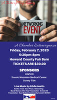 A Taste of Big pangNETWORKINGEVENTA Chamber ExtravaganzaFriday, February 7, 20205:30pm-8pmHoward County Fair BarnTICKETS ARE $30.00SPONSORSONCORScenic Mountain Medical CenterSurety TitleLive Music by Eddie AustinBooths - Food - Door Prizes - Networking -Man & Woman of the Year Presentation - 5 Under 55Presentation - Russ McEwen Community Award & MORE!Spring309188Aa Chambe ef Commence A Taste of Big pang NETWORKING EVENT A Chamber Extravaganza Friday, February 7, 2020 5:30pm-8pm Howard County Fair Barn TICKETS ARE $30.00 SPONSORS ONCOR Scenic Mountain Medical Center Surety Title Live Music by Eddie Austin Booths - Food - Door Prizes - Networking - Man & Woman of the Year Presentation - 5 Under 55 Presentation - Russ McEwen Community Award & MORE! Spring 309188 Aa Chambe ef Commence