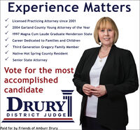Experience MattersLicensed Practicing Attorney since 20012004 Garland County Young Attorney of the Year1997 Magna Cum Laude Graduate Henderson StateCareer Dedicated to Families and ChildrenThird Generation Gregory Family MemberNative Hot Spring County ResidentSenior State AttorneyVote for the mostaccomplishedcandidateDRURYDISTRICT JUDGEPaid for by Friends of Amburr Drury Experience Matters Licensed Practicing Attorney since 2001 2004 Garland County Young Attorney of the Year 1997 Magna Cum Laude Graduate Henderson State Career Dedicated to Families and Children Third Generation Gregory Family Member Native Hot Spring County Resident Senior State Attorney Vote for the most accomplished candidate DRURY DISTRICT JUDGE Paid for by Friends of Amburr Drury