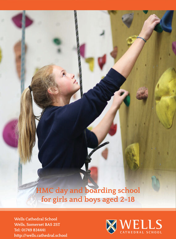 HMC day and boarding schoolfor girls and boys aged 2-18Wells Cathedral SchoolXWELLSWells, Somerset BA5 2STTel: 01749 834441CATHEDRAL SCHOOLhttp://wells.cathedral.school HMC day and boarding school for girls and boys aged 2-18 Wells Cathedral School XWELLS Wells, Somerset BA5 2ST Tel: 01749 834441 CATHEDRAL SCHOOL http://wells.cathedral.school