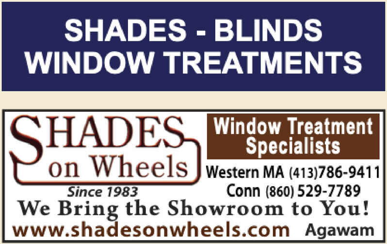 SHADES - BLINDSWINDOW TREATMENTSISHADES Window TreatmentSpecialistson Wheels JWestern MA (413)786-9411Since 1983We Bring the Showroom to You!www.shadesonwheels.com AgawamConn (860) 529-7789 SHADES - BLINDS WINDOW TREATMENTS ISHADES Window Treatment Specialists on Wheels JWestern MA (413)786-9411 Since 1983 We Bring the Showroom to You! www.shadesonwheels.com Agawam Conn (860) 529-7789