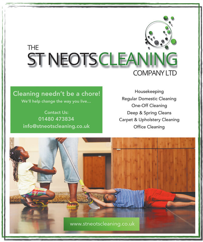 THEST NEOTSCLEANINGCOMPANY LTDHousekeepingCleaning needn't be a chore!Regular Domestic CleaningOne-Off CleaningWe'll help change the way you live.Contact Us:Deep & Spring CleansCarpet & Upholstery CleaningOffice Cleaning01480 473834info@stneotscleaning.co.ukwww.stneotscleaning.co.uk THE ST NEOTSCLEANING COMPANY LTD Housekeeping Cleaning needn't be a chore! Regular Domestic Cleaning One-Off Cleaning We'll help change the way you live. Contact Us: Deep & Spring Cleans Carpet & Upholstery Cleaning Office Cleaning 01480 473834 info@stneotscleaning.co.uk www.stneotscleaning.co.uk
