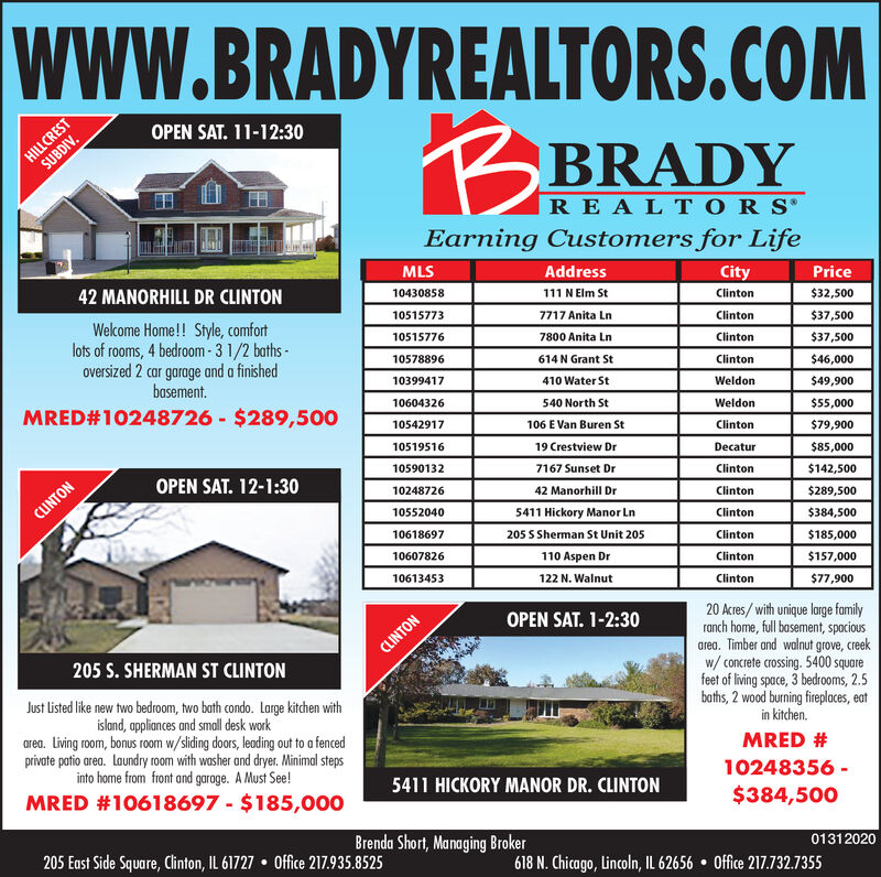 wwW.BRADYREALTORS.COMHILLCRESTSUBDIV.OPEN SAT. 11-12:30BRADYRE A L T O R S'Earning Customers for LifeMLSAddressCityPrice42 MANORHILL DR CLINTON10430858111 N Elm StClinton$32,50010515773Wekcome Home!! Style, comfortlots of rooms, 4 bedroom- 3 1/2 baths -oversized 2 car garage and a finishedbasement.MRED#10248726 - $289,5007717 Anita LnClinton$37,500105157767800 Anita LnClinton$37,50010578896614 N Grant StClinton$46,00010399417410 Water StWeldon$49,90010604326540 North StWeldon$55,00010542917106 E Van Buren StClinton$79,90019 Crestview Dr10519516Decatur$85,000105901327167 Sunset DrOPEN SAT. 12-1:30Clinton$142,5001024872642 Manorhill DrClinton$289,500CUNTON105520405411 Hickory Manor LnClinton$384,50010618697205 S Sherman St Unit 205Clinton$185,00010607826110 Aspen DrClinton$157,000122 N. Walnut10613453Clinton$77,90020 Acres/ with unique large familyranch home, full basement, spociousarea. Timber and walnut grove, creekw/ concrete crossing. 5400 squarefeet of living space, 3 bedrooms, 2.5baths, 2 wood burning fireplaces, eatOPEN SAT. 1-2:30CLINTON205 S. SHERMAN ST CLINTONJust listed like new two bedroom, two bath condo. Large kitchen withisland, appliances and small desk workarea. Living room, bonus room w/sliding doors, leading out to a fencedprivate patio area. Laundry room with washer and dryer. Minimal stepsinto home from front and garage. A Must See!in kitchen.MRED #10248356 -5411 HICKORY MANOR DR. CLINTONMRED #10618697 - $185,000$384,500Brenda Short, Managing Broker205 East Side Square, Chinton, IL 61727  Office 217.935.852501312020618 N. Chicago, Lincoln, IL 62656  Office 217.732.7355 wwW.BRADYREALTORS.COM HILLCREST SUBDIV. OPEN SAT. 11-12:30 BRADY RE A L T O R S' Earning Customers for Life MLS Address City Price 42 MANORHILL DR CLINTON 10430858 111 N Elm St Clinton $32,500 10515773 Wekcome Home!! Style, comfort lots of rooms, 4 bedroom- 3 1/2 baths - oversized 2 car garage and a finished basement. MRED#10248726 - $289,500 7717 Anita Ln Clinton $37,500 10515776 7