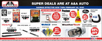 "SUPER DEALS ARE AT A&A AUTOAUTO STORESSAVINGS EFFECTIVE NOW THRU FEBRUARY 29, 2020Toer Hemetown Aute Parts Stere Slace 195JOIN OUR EMAIL LIST TODAY! PrestoneBUY IGET IFREEQIKBELTS ANDGuter. HOSESROCKSALTE MELTTextICE MELTAAAUTOSTORESto 22828 to get started.FUELGet THISByer andMORE DEALSsent directlyEMERANBOOK SILTJOEADDITIVE10%OFFPart No. 30150 - 50 b.NEW$1999Part No. AST20 - 15 ozto YOU eachmonth!$549ea.Part No. ROCS001 - 50b.$599*IN-STORE""IN-STORE ONLYMessage and data rates may apply.ea.ONLYANCO. WIPERSWeatherTech FLOOR LINERS,TRAILFXOVAL STEP BARS - 4""MUD FLAPS AND MOREPart No. All seriesPart No. A15298 - StainiessPart No. A15298 - BlackBUY IGET I20%OFF$32999$20999setset50% OFF*IN-STORE ONLY""IN-STORE ONLYTo place your order online and find all store location information, visit www.aaautostores.comCopyright 02020, Arights reserved. Al teat, graphics, pictures, logos, and the selection and arrangement thereof is the ecdusive property of the Publisher or s content Supplier. No portion ef this add. incduding images, may be reproduced in any form without prior written consent of the Publisher Vold thru February 2h SUPER DEALS ARE AT A&A AUTO AUTO STORES SAVINGS EFFECTIVE NOW THRU FEBRUARY 29, 2020 Toer Hemetown Aute Parts Stere Slace 195 JOIN OUR EMAIL LIST TODAY! Prestone BUY I GET I FREE QIK BELTS AND Guter. HOSES ROCK SALT E MELT Text ICE MELT AAAUTOSTORES to 22828 to get started. FUEL Get THIS Byer and MORE DEALS sent directly EMERAN BOOK SILT JOE ADDITIVE 10% OFF Part No. 30150 - 50 b. NEW $1999 Part No. AST20 - 15 oz to YOU each month! $549 ea. Part No. ROCS001 - 50b. $599 *IN-STORE ""IN-STORE ONLY Message and data rates may apply. ea. ONLY ANCO. WIPERS WeatherTech FLOOR LINERS, TRAILFX OVAL STEP BARS - 4"" MUD FLAPS AND MORE Part No. All series Part No. A15298 - Stainiess Part No. A15298 - Black BUY I GET I 20% OFF $32999 $20999 set set 50% OFF *IN-STORE ONLY ""IN-STORE ONLY To place your order online and find all store location information, visit www.aaautostores.com Copyright 02020, A rights reserved. Al teat, graphics, pictures, logos, and the selection and arrangement thereof is the ecdusive property of the Publisher or s content Supplier. No portion ef this add. incduding images, may be reproduced in any form without prior written consent of the Publisher Vold thru February 2h"
