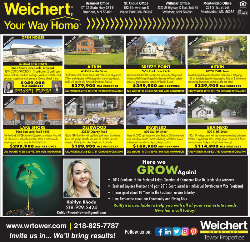 """Weichert;Your Way Home""""Brainerd Office17122 State Hwy 371NSt. Cloud Office183 7th Avenue SWillmar Office2320 US Highway 12 East, Suite #5Willmar, MN 56201Montevideo Office221 S 1st StreetBrainerd, MN 56401Waite Park, MN 56387Montevideo, MN 562650MLSOPEN HOUSEEY CONSRUCIONMILE LAS LKEGAAT LOCATIONSPIRIT LAKESATURDAY 12:00-2:00PM3615 Shady Lane Circle, BrainerdNEW CONSTRUCTION - 3 bedroom, 2 bathroomhome features vaulted ceilings, walkin closets, andan over-sized two car garoge. Come check it out!AITKIN43450 Conifer StreetBREEZY POINTAITKIN7665 Chickasaw CircleWell maintained 4BR/3BA executve syle home on he lóh green ofWhiebirch Golf Course in Breezy Point. Features HW Roors, updatedkichen w/ granite counters, stone FR, ME loundry & Morel$349,900 MLS #5329003This fantostic VRBO home features 4BR/3BA, a hot tub gazebo,40260 298th LaneBeoutfuly updated private loke retreat 3-BR/38A, 2 stol goroge,186' on Spirt lake, beoutfd outdoor seating & fire pit, & ol he naturesurounding. Stop out and see this one of a lind homel$339,900 MLS #528995275h of level elevation to Mille locs lake, its own boat launch,and it will be sold fully furnished! Don't miss his onel$379,90O MLS #5298713$249,900MLS #5324215KARINE LOOBASTIM BOSCH218-851-4392651-303-7306CALL WEICHERT AT 218-825-7787 FOR MORE INFORMATIONICALL WEICHERT AT 218-825-7787 FOR MORE INFORMATIONICALL WEICHERT AT 218-825-7787 FOR MORE INFORMATIONIGULL LAKECROOKED LAKENEW LISTING!GREAT LOCATIONELAKE SHOREDEERWOOD22835 Osprey Road8066 Lost Lake Road #145Fully hunished 3BR/5BA home in Couseway. Associafion iving withGul Chain occess and al the omenities. Move in condiion wiheverything you need to enjoy the Gul loke Chainl$299,900 MLS #5317978BRAINERDBRAINERDQuoint 1BR/1BA cabin with odional bunk house, fsh deaninghouse ond garoge. Beautil loke shore on Crooked Loke andoccess to 3 ofher joining lokes. Freploce for looks only.$199,900 MLS N5322317606 SW 4th StreetMake this 2900 sqft house your own. Features 38R on the mainlevel, m"""