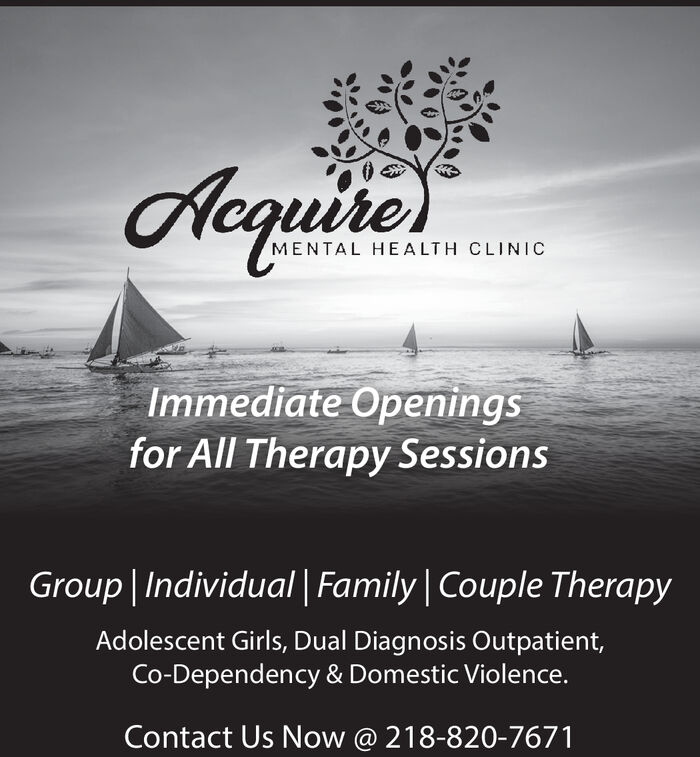 AequitierMENTAL HEALTH CLINICImmediate Openingsfor All Therapy SessionsGroup Individual Family Couple TherapyAdolescent Girls, Dual Diagnosis Outpatient,Co-Dependency & Domestic Violence.Contact Us Now @ 218-820-7671 Aequitier MENTAL HEALTH CLINIC Immediate Openings for All Therapy Sessions Group Individual Family Couple Therapy Adolescent Girls, Dual Diagnosis Outpatient, Co-Dependency & Domestic Violence. Contact Us Now @ 218-820-7671