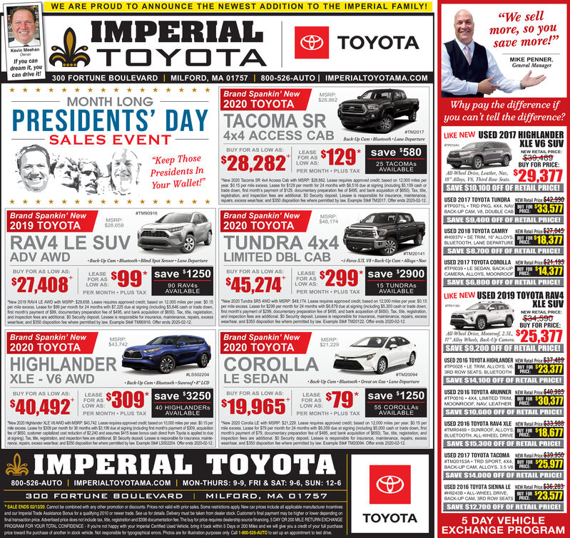 """WE ARE PROUD TO ANNOUNCE THE NEWEST ADDITION TO THE IMPERIAL FAMILY!""""We sellmore, so yousave more!""""0 IMPERIALTOYOTAO TOYOTAKevin MeehanOunerMIKE PENNER,General ManagerIf you candream it, youcan drive it!300 FORTUNE BOULEVARD 