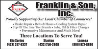 Franklin & Son,Inc.Since 1961Tranklin& SON INC.Proudly Supporting Our Local Chamber of Commerce! Brake Repair  Belts & Hoses Cooling System Repair Top Of The Line Tire Brands  Lube, Oil & Filter Changes Preventative Maintenance And Much More!Three Locations To Serve You!Big Spring(432) 267-6337Stanton(432) 756-2808Lamesa(806) 872-8886 Franklin & Son, Inc. Since 1961 Tranklin & SON INC. Proudly Supporting Our Local Chamber of Commerce!  Brake Repair  Belts & Hoses Cooling System Repair  Top Of The Line Tire Brands  Lube, Oil & Filter Changes  Preventative Maintenance And Much More! Three Locations To Serve You! Big Spring (432) 267-6337 Stanton (432) 756-2808 Lamesa (806) 872-8886