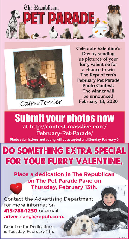 The Republican.PET PARADECelebrate Valentine'sDay by sendingus pictures of yourfurry valentine fora chance to winThe Republican'sFebruary Pet ParadePhoto Contest.The winner willbe announcedFebruary 13, 2020Cairn TerrierSubmit your photos nowat http://contest.masslive.com/February-Pet-Parade/Photo submissions and voting will be accepted until Sunday, February 9.DO SOMETHING EXTRA SPECIALFOR YOUR FURRY VALENTINE.Place a dedication in The Republicanon The Pet Parade Page onThursday, February 13th.Contact the Advertising Departmentfor more information413-788-1250 or emailadvertising@repub.com.Deadline for Dedicationsis Tuesday, February 11th.SP49040 The Republican. PET PARADE Celebrate Valentine's Day by sending us pictures of your furry valentine for a chance to win The Republican's February Pet Parade Photo Contest. The winner will be announced February 13, 2020 Cairn Terrier Submit your photos now at http://contest.masslive.com/ February-Pet-Parade/ Photo submissions and voting will be accepted until Sunday, February 9. DO SOMETHING EXTRA SPECIAL FOR YOUR FURRY VALENTINE. Place a dedication in The Republican on The Pet Parade Page on Thursday, February 13th. Contact the Advertising Department for more information 413-788-1250 or email advertising@repub.com. Deadline for Dedications is Tuesday, February 11th. SP49040