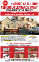 HISTORIC $5 MILLIONREMODEL/CLEARANCE EVENTSTOPNOW OPEN TO THE PUBLIC!3 GREAT SALE DAYS!Sunday 12-5, Monday & Tuesday 10-6HENDRIXSON'SFURNITUREWe are making huge changes! We are remodeling our Furlong showroom! Prices have beenslashed on our entire stock! Over FIVE MILLION DOLLARS of FINE QUALITY FURNITURE,HAND-MADE ORIENTAL RUGS, AND ACCESSsORIES from such distinguished makers asStickley, Century, Shifman Mattress, Theodore Alexander, Hancock & Moore, Ekornes, JessicaCharles, and Many more will be sold at enormous discounts! This historic event is beingheld at our FURLONG LOCATION ONLY. This is a COMPLETE SELL-OFF, before we remodelHENDRIXSON'SFURNITUREFOR DISTINCTIVE HOMES3539 York Road (Route 263)Furlong, Bucks County, PA 18925our store.ALL MUST GO! FURLONG LOCATION ONLY!FAMOUS NAMES - EXTREME VALUESLIVING ROOMSDINING ROOMSBEDS & BEDROOMSSTRESSLESS CHAIRSFINE QUALITY RUGSLEATHER & RECLINERSFor more information and directions(215) 794-7325  www.hendrixsonsfurniture.siteGSFP2020FYL HISTORIC $5 MILLION REMODEL/CLEARANCE EVENT STOP NOW OPEN TO THE PUBLIC! 3 GREAT SALE DAYS! Sunday 12-5, Monday & Tuesday 10-6 HENDRIXSON'S FURNITURE We are making huge changes! We are remodeling our Furlong showroom! Prices have been slashed on our entire stock! Over FIVE MILLION DOLLARS of FINE QUALITY FURNITURE, HAND-MADE ORIENTAL RUGS, AND ACCESSsORIES from such distinguished makers as Stickley, Century, Shifman Mattress, Theodore Alexander, Hancock & Moore, Ekornes, Jessica Charles, and Many more will be sold at enormous discounts! This historic event is being held at our FURLONG LOCATION ONLY. This is a COMPLETE SELL-OFF, before we remodel HENDRIXSON'S FURNITURE FOR DISTINCTIVE HOMES 3539 York Road (Route 263) Furlong, Bucks County, PA 18925 our store. ALL MUST GO! FURLONG LOCATION ONLY! FAMOUS NAMES - EXTREME VALUES LIVING ROOMS DINING ROOMS BEDS & BEDROOMS STRESSLESS CHAIRS FINE QUALITY RUGS LEATHER & RECLINERS For more information and directions (215) 794-7325  www.hendrixsonsfur