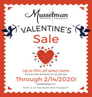 MusselmanBethlehem's Oldest JewelerVALENTINE'SSaleUp to 70% off select items420 Main Street, Bethlehem, PA | 610-866-3982Through 2/14/2020!Musselmanpa.comFind us on Facebook and Instagram! Musselman Bethlehem's Oldest Jeweler VALENTINE'S Sale Up to 70% off select items 420 Main Street, Bethlehem, PA | 610-866-3982 Through 2/14/2020! Musselmanpa.com Find us on Facebook and Instagram!
