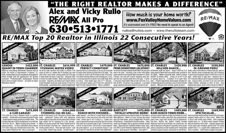 """THE RIGHT REALTOR MAKES A DIFFERENCE""""Alex and Vicky RulloREMAX All ProHow much is your home worth?www.FoxValleyHomeValues.comI's automated and it's FREE! No need to speak to an Agent!6305131771 loserulos.com - ww.therulloteam.comRE/MAX Top 20 Realtor in IIlinois 22 Consecutive Years!RE/MAXNEW LISTING!NEW LISTING!NEW LISTING!HILLSIDE RANCH!AMAZING LOT!GENEVAQUAINT IN-TOWN CHARMER! STUNNING WATER VIEWS!Walk to everything downtown Geneva has to ll be totaly inpesed whe quality & condtion of tis Spacious home on a picturesque cul-de-sac lat suntunded uwilove this tataly rehabbed hilside RANCH Iut s taken witinished walk-out bsmt - enjoy 4,400 sa ft of Ouality custom home fatures a fnished deep pour wak outofferl So much is newhewer! 4 bdrms, 2.1 atn tome na odnd lake let wistuing yr mund by matre trees Enormous grante ktch wSS appls Fan den to he uts - eyhng s e done wthe highest ving space New kitch wicustom cabs. granite & bent beautt private enceptionaly arpe jard wfabuousbths, hardwoods &rich woodwork throughout! ves Ba stone edeter, amang grante kd wSS apps mfoor to ceil pwaeindoes to tka i the vies palty nterawoknanstig erten S Dates SS appls. Modm wigranite bath, wak-in steam ingrond pod witpansie putos Grante ktch wbew SSKitch wihigh end SS appliances! Al season itad det hat apens to ugper deck. Sontacr any True mbdrm sute has iting m . dressing area, 2wics, i Geted, ne, bke pah & parks Inpressive gsal roon, shower & private deck Living m w16 l cel ape- drette opers tupper deck Inpressive fam msunroom. Professionally landscaped fenced mwstone twals of windows. Modm sute wital rain tead &a stunning travertine & grante kury bati Huge bdrma gen foor plan, tabulous pante kith wiss appls. 3 berms, & soaring stone fp. 4-season rm & open floor w21 fbeaned celing & wal of rperod windows Modrmback yard wiwater feature sit back & enjoy! Earn stowr. Huge bems, al wtats i wic Supetor miluok al wwics Grand leaded plass enty wT sarcase Zwros ensute bankout lover level wite pl"""