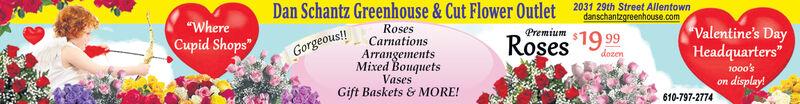 "2031 29th Street AllentownDan Schantz Greenhouse & Cut Flower Outletdanschantzgreenhouse.comRosesCarnationsValentine's DayHeadquarters'1000'son display!$19 99RosesPremium""WhereCupid Shops""dozenGorgeous!ArrangementsVasesMixed BouquetsGift Baskets & MORE!610-797-2774 2031 29th Street Allentown Dan Schantz Greenhouse & Cut Flower Outlet danschantzgreenhouse.com Roses Carnations Valentine's Day Headquarters' 1000's on display! $19 99 Roses Premium ""Where Cupid Shops"" dozen Gorgeous! Arrangements Vases Mixed Bouquets Gift Baskets & MORE! 610-797-2774"