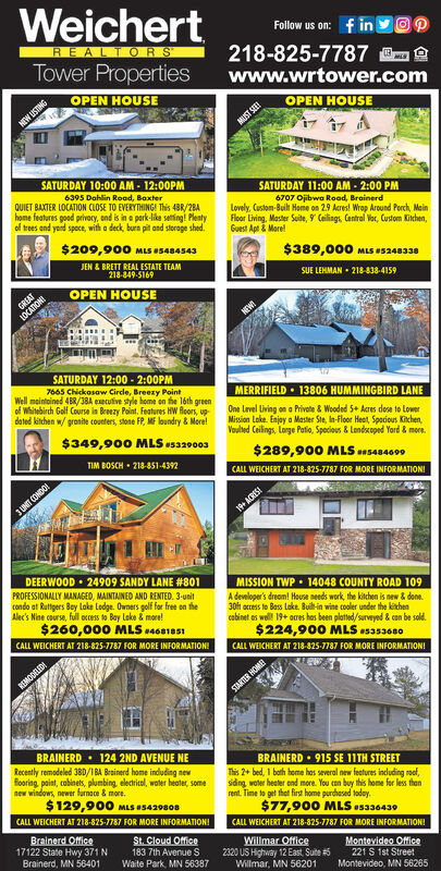 WeichertFollow us on: f in yOPREALTORS218-825-7787 Owww.wrtower.comTower PropertiesOPEN HOUSEOPEN HOUSENEW USTINGMUST SEEISATURDAY 10:00 AM - 12:00PMSATURDAY 11:00 AM - 2:00 PM6395 Dahlin Read, BoxterQUIET BAXTER LOCATION CLOSE TO EVERYTHING! This 43R/2BAhome features good privecy, end is in e park-lika seting! Plentyof trees and yond space, with a deck, burn pit and storage shed.6707 Ojibwa Road, BrainerdLovely. Custom-Built Home on 29 Acres! Wrop Around Perch, MainFloor Living. Master Suite, 9 Calings. Cantral Vor, Custom Kitchen,Guest Apt & More!$209,900 MLS U5484543$389,000 MLS uS240330JEN & BRETT REAL ESTATE TEAM218-849-5169SUE LEHMAN - 218-838-4159OPEN HOUSEGREATLOCATIONISATURDAY 12:00 - 2:00PM7665 Chickosaw Cirde, Breezy PointWell maintoined 4BR/38A executive style home on the léth greenof Whitebirch Golf Course in Brezy Point. Features HW Aoors, up-dated kitchen w/ granite counters, stone FP, MF loundry & More!MERRIFIELD  13806 HUMMINGBIRD LANEOne Level Living on a Privote & Wooded 5+ Acres dese to LowerMission Lake. Enjay a Master Ste, In-Floor Heet, Spocious Kitchen,Voulted Ceilings, Lorge Patio, Spocious & Landscoped Yord & more.$349,900 MLSas3a93$289,900 MLS ansas4000TIM BOSCH  218-851-4392CALL WEICHERT AT 218-825-7787 FOR MORE INFORMATIONI3 UNT CONDO19+ ACRES!DEERWOOD  24909 SANDY LANE #801MISSION TWP  14048 COUNTY ROAD 109A devmloper's dreom! House needs work, the kitchen is new & done.30h ocress to Bass Lake. Buil-in wine cooler under the kinchencabinet es well 19+ acres has been plated/surveyed & con be sold.$224,900 MLS s3s3680PROFESSIONALLY MANAGED, MAINTAINED AND RENTED. 3-unitcondo at Ruttgers Bey lake Lodge. Owners golf for free on theAlec's Nine course, full occess to Bay Lake & more!$260,000 MLS 4681es1CALL WEICHERT AT 218-825-7787 FOR MORE INFORMATION!CALL WEICHERT AT 218-825-7787 FOR MORE INFORMATION!REMODELEDISTARSER HOMEBRAINERD · 124 2ND AVENUE NERecently remodeled 38D/1BA Brainerd home induding newHooring, paint, cobinets, plumbing, electricel, woter heater, somenew windows, newer furnace & more.$129,900 MLS 5429808BRAINERD  915 SE 11TH STREETThis 2+ bed, 1 bath heme has several new features including roof,sdng woter heter ond more. You ean buy this home for less thanrent. Time to get thet first home purdhased taday.$77,900 MLS s336430CALL WEICHERT AT 218-825-7787 FOR MORE INFORMATION!CALL WEICHERT AT 218-825-7787 FOR MORE INFORMATIONIBrainerd Office17122 State Hwy 371 NBrainerd, MN 56401St. Cloud Office183 7th Avenue SWaite Park, MN 56387Willmar Office2320 US Highway 12 East, Suite #5Willmar, MN 56201Montevideo Office221 S 1st StreetMontevideo, MN 56265 Weichert Follow us on: f in yOP REALTORS 218-825-7787 O www.wrtower.com Tower Properties OPEN HOUSE OPEN HOUSE NEW USTING MUST SEEI SATURDAY 10:00 AM - 12:00PM SATURDAY 11:00 AM - 2:00 PM 6395 Dahlin Read, Boxter QUIET BAXTER LOCATION CLOSE TO EVERYTHING! This 43R/2BA home features good privecy, end is in e park-lika seting! Plenty of trees and yond space, with a deck, burn pit and storage shed. 6707 Ojibwa Road, Brainerd Lovely. Custom-Built Home on 29 Acres! Wrop Around Perch, Main Floor Living. Master Suite, 9 Calings. Cantral Vor, Custom Kitchen, Guest Apt & More! $209,900 MLS U5484543 $389,000 MLS uS240330 JEN & BRETT REAL ESTATE TEAM 218-849-5169 SUE LEHMAN - 218-838-4159 OPEN HOUSE GREAT LOCATIONI SATURDAY 12:00 - 2:00PM 7665 Chickosaw Cirde, Breezy Point Well maintoined 4BR/38A executive style home on the léth green of Whitebirch Golf Course in Brezy Point. Features HW Aoors, up- dated kitchen w/ granite counters, stone FP, MF loundry & More! MERRIFIELD  13806 HUMMINGBIRD LANE One Level Living on a Privote & Wooded 5+ Acres dese to Lower Mission Lake. Enjay a Master Ste, In-Floor Heet, Spocious Kitchen, Voulted Ceilings, Lorge Patio, Spocious & Landscoped Yord & more. $349,900 MLSas3a93 $289,900 MLS ansas4000 TIM BOSCH  218-851-4392 CALL WEICHERT AT 218-825-7787 FOR MORE INFORMATIONI 3 UNT CONDO 19+ ACRES! DEERWOOD  24909 SANDY LANE #801 MISSION TWP  14048 COUNTY ROAD 109 A devmloper's dreom! House needs work, the kitchen is new & done. 30h ocress to Bass Lake. Buil-in wine cooler under the kinchen cabinet es well 19+ acres has been plated/surveyed & con be sold. $224,900 MLS s3s3680 PROFESSIONALLY MANAGED, MAINTAINED AND RENTED. 3-unit condo at Ruttgers Bey lake Lodge. Owners golf for free on the Alec's Nine course, full occess to Bay Lake & more! $260,000 MLS 4681es1 CALL WEICHERT AT 218-825-7787 FOR MORE INFORMATION! CALL WEICHERT AT 218-825-7787 FOR MORE INFORMATION! REMODELEDI STARSER HOME BRAINERD · 124 2ND AVENUE NE Recently remodeled 38D/1BA Brainerd home induding new Hooring, paint, cobinets, plumbing, electricel, woter heater, some new windows, newer furnace & more. $129,900 MLS 5429808 BRAINERD  915 SE 11TH STREET This 2+ bed, 1 bath heme has several new features including roof, sdng woter heter ond more. You ean buy this home for less than rent. Time to get thet first home purdhased taday. $77,900 MLS s336430 CALL WEICHERT AT 218-825-7787 FOR MORE INFORMATION! CALL WEICHERT AT 218-825-7787 FOR MORE INFORMATIONI Brainerd Office 17122 State Hwy 371 N Brainerd, MN 56401 St. Cloud Office 183 7th Avenue S Waite Park, MN 56387 Willmar Office 2320 US Highway 12 East, Suite #5 Willmar, MN 56201 Montevideo Office 221 S 1st Street Montevideo, MN 56265