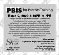 PBIS for Parents TrainingMarch 5, 2020 5:30PM to 7PMSchuylkill IU29 - Maple Avenue Campus - GymnasiumPositive Behavior Interventions and Support (PBIS)is a framework for creating safer and more effective schools.PBIS has been proven to improve social, emotional, and academicoutcomes for all students, including students with disabilities.Many schools in Schuylkill County are implementing PBIS.This presentation will provide parents and community memberswith an overview of PBIS as well as information about how parentsand community members can support PBIS successat home and in the community.All are welcome!|chuylkillIntermediateUnit 29Register at: https://tinyurl.com/PBISMar5Snow Date March 12thFor more information contact:Ashley Hess at hessa@iu29.org or570-544-9131 X 128317 Maple AvenueMarlin, PA 17951 PBIS for Parents Training March 5, 2020 5:30PM to 7PM Schuylkill IU29 - Maple Avenue Campus - Gymnasium Positive Behavior Interventions and Support (PBIS) is a framework for creating safer and more effective schools. PBIS has been proven to improve social, emotional, and academic outcomes for all students, including students with disabilities. Many schools in Schuylkill County are implementing PBIS. This presentation will provide parents and community members with an overview of PBIS as well as information about how parents and community members can support PBIS success at home and in the community. All are welcome! |chuylkill Intermediate Unit 29 Register at: https://tinyurl.com/PBISMar5 Snow Date March 12th For more information contact: Ashley Hess at hessa@iu29.org or 570-544-9131 X 1283 17 Maple Avenue Marlin, PA 17951