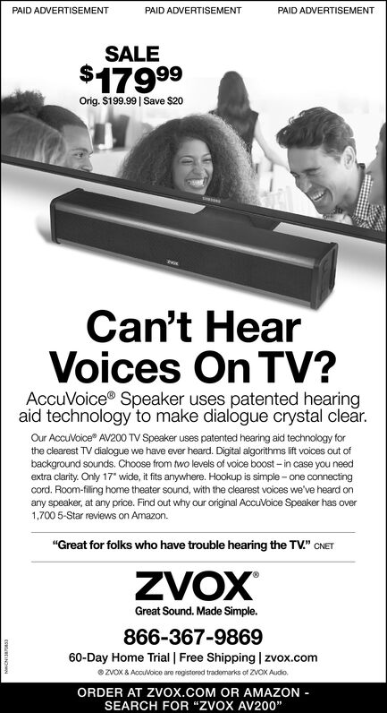 """PAID ADVERTISEMENTPAID ADVERTISEMENTPAID ADVERTISEMENTSALE$17999Orig. $199.99