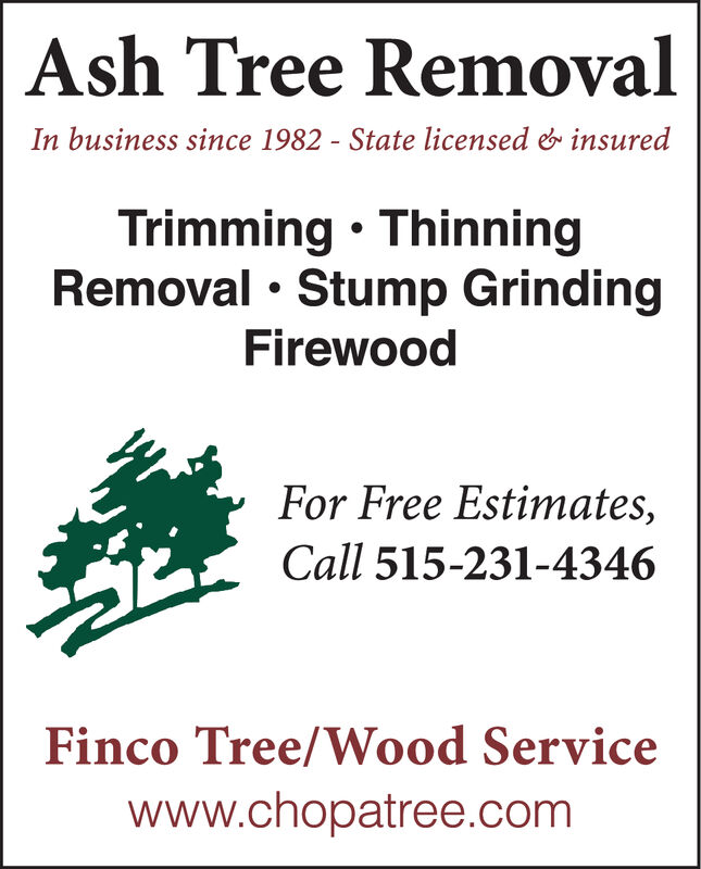 Ash Tree RemovalIn business since 1982 - State licensed & insuredTrimming  ThinningRemoval  Stump GrindingFirewoodFor Free Estimates,Call 515-231-4346Finco Tree/Wood Servicewww.chopatree.com Ash Tree Removal In business since 1982 - State licensed & insured Trimming  Thinning Removal  Stump Grinding Firewood For Free Estimates, Call 515-231-4346 Finco Tree/Wood Service www.chopatree.com