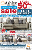 """OAshley 50%SAVEUPTOHOMESTOREPRESIDENTS DAYsaleerFREEPLUSDELIVERYWE WANT YOUTO SAVE BIG*6 YEARS NO INTEREST FINANCINGUPKestrel Driftwood Sofa Chaise$599$399Designed for loks and longevity, this decidedly modern sofa chaise has cleanTines and flared arms. Wrapped in an easy-breezy driftwood-tone upholstery,ats what's new in neutrals. Includes 4 decorative pillows.