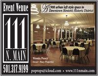 Event Venue 31908 urban loft style space inDowntown Benton's Historic District11N. MAINWanda PoseyOwner - Posey Properties501.317.9199poprops@icloud.com  www.111nmain.com Event Venue 3 1908 urban loft style space in Downtown Benton's Historic District 11 N. MAIN Wanda Posey Owner - Posey Properties 501.317.9199 poprops@icloud.com  www.111nmain.com