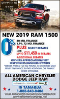 PRESIDENTS' DAY- EVENTRAMRAMNEW 2019 RAM 150060 MO. FINANCE1.9% 72 MO. FINANCEPLUS SELECT REBATES-OR-UP TO $11,450 IN REBATESADDITIONAL REBATESOWNERS APPRECIATION/FIRSTRESPONDERS/BUSINESS OWNERS*REBATES APPLIED FOR REG PRICING. NO CONSUMER CASHREBATE ON FINANCE. TAX TAGS ADDITIONAL CAP FINANCEWHERE APPLICABLE.ALL AMERICAN CHRYSLERDODGE JEEP RAMDODGE Jeep VHRYSLERIN TAMAQUA1-888-843-8406YOUR AUTHORIZED SNOWDOGG DISTRIBUTORwww.allamericanjeep.net PRESIDENTS' DAY - EVENT RAM RAM NEW 2019 RAM 1500 60 MO. FINANCE 1.9% 72 MO. FINANCE PLUS SELECT REBATES -OR- UP TO $11,450 IN REBATES ADDITIONAL REBATES OWNERS APPRECIATION/FIRST RESPONDERS/BUSINESS OWNERS *REBATES APPLIED FOR REG PRICING. NO CONSUMER CASH REBATE ON FINANCE. TAX TAGS ADDITIONAL CAP FINANCE WHERE APPLICABLE. ALL AMERICAN CHRYSLER DODGE JEEP RAM DODGE Jeep V HRYSLER IN TAMAQUA 1-888-843-8406 YOUR AUTHORIZED SNOWDOGG DISTRIBUTOR www.allamericanjeep.net