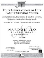 FOUR GENERATIONS OF OurFAMILY SERVING YOURSFull Traditional, Cremation, & Custom Services,Tailored to Individual Family NeedsSERVING ALL FAITHSPREPLANNING AVAILABLENARD O L ILLOFUNERA L HO M E& CREMATORYEST 1906Robert A. Nardolillo, Jr. RE/FDDavid M. Nardolillo RE/FDAngelo M. Nardolillo RE/FD1111 BoSTON NECK ROAD1278 PARK AVENUENARRAGANSETT, RI 02882(401) 789-6300CRANSTON, RI 02910(401) 942-1220NARDOLILLOFH.coMTORALLYASAPRST FOUR GENERATIONS OF Our FAMILY SERVING YOURS Full Traditional, Cremation, & Custom Services, Tailored to Individual Family Needs SERVING ALL FAITHS PREPLANNING AVAILABLE NARD O L ILLO FUNERA L HO M E & CREMATORY EST 1906 Robert A. Nardolillo, Jr. RE/FD David M. Nardolillo RE/FD Angelo M. Nardolillo RE/FD 1111 BoSTON NECK ROAD 1278 PARK AVENUE NARRAGANSETT, RI 02882 (401) 789-6300 CRANSTON, RI 02910 (401) 942-1220 NARDOLILLOFH.coM TORALLY ASAPRST
