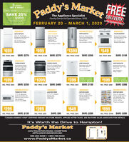"Paddy's MarkerFREEgo greenGET A DEAL!ENERGY SAVINGS REBATE PROGRAMSAVE 25%- up to $500-The Appliance SpecialistFamily Owned & Operated Since 1955DELIVERY!ont Cery ar Hjor Appnwith ttoreFEBRUARY 20 - MARCH 1, 2020In the Durham Region!AMANAAMANAWHIRLPOOLAMANAART318FFDWABB1924BRMWRFS6OSFHZYACR4303MFW18 Cu. FL. Top FreezerRefrigerator with ElectronicTemperature Controls18 Cu. Ft. CapacityBottom-FreezerRefrigerator withEasyFreezerPuliout Drawer20 Cu. Ft. 30-inch WideFrench Door Refriger atorwith FingerPrint ResistantStainless Steel30-inch Electric Rangewith Bake Assist Tempsand Coil ElementsAlso Available inStainless Steel $749Also Available inStainless Steel $59Also Available in WhiteAlso Available in White$699$999$1399$549REG. PRICE: $969 SAVE: $270REG. PRICE: $1369 SAVE: $370REG. PRICE: $1949 SAVE: $550SAVE: $150REG. PRICE: $699WHIRLPOOLWHIRLPOOLAMANAAMANAYAER6303MFSYWEES10SOFSADB1400AGWWDFS60SAFM30-inch Electric Rangewith ExtraLarge OvenWindow and SmoothTop Cooking Surface4.8 Cu. Ft. Guided ElectricFront Control Range withthe Easy Wipe CeramicGlass CooktopDishwasher with TripleFilter Wash SystemStainless Steel InteriorDishwasher with 1-HourWash CycleAlso Available inStainless Steel $429Also Available inWhite or BlackAlso Avalable inWhite $549Also Available in Whiteor Black $1049$599$1099$399PLUS! IN-STOREENERGY SAVINGREBATE: S99.75$599PLUS! IN-STOREENERGY SAVINGREBATE: $149.75REG. PRICE: $849SAVE: $250REG. PRICE: $1499 SAVE: $400SAVE: $130SAVE: $300REG. PRICE: $529REG. PRICE: $899WHIRLPOOLAMANAWHIRLPOOLAMANA""AQCO501GRW53 Cu. Ft. CompactYWMH31017HWAZF33X16DWWZF34218DW1.7 Cu. Ft. MicrowaveHood Combination withElectronic Touch Controls16 Cu. Ft. AutomaticDefrost Upright Freezerwith RevolutionaryInsulation and FastFreeze Option18 Cu. Ft. AutomaticDefrost Upright Freezerwith Adjustable WireShelves and with LEDInterior LightingFreezer withDeepfreezeTechnologyAlso Available inStainless Steel $329""Food not included$299$269$649$899REG. PRICE: $429SAVE: $130REG. PRICE: $359SAVE: $90REG. PRICE: $849SAVE: $200REG. PRICE: $1099 SAVE: $200TCANADA ENERGY STAR CERTIFIED INSTANT IN-STORE REBATE. APPLIED AFTER TAXES. SEE IN-STORE SALES ASSOCIATE FOR DETAILS.It's Worth the Drive to Hampton!Paddy's MarketTaunton Rd.2212 TAUNTON ROAD, HAMPTONAPPLIANCE WAREHOUSE:905-263-8369  1-800-798-5502www.PaddysMarket.caOSHAWABOWMANVILLEHarmony Rd.8 Courtice Rd.Hwy. 57 Paddy's Marker FREE go green GET A DEAL! ENERGY SAVINGS REBATE PROGRAM SAVE 25% - up to $500- The Appliance Specialist Family Owned & Operated Since 1955 DELIVERY! ont Cery ar Hjor Appn with ttore FEBRUARY 20 - MARCH 1, 2020 In the Durham Region! AMANA AMANA WHIRLPOOL AMANA ART318FFDW ABB1924BRM WRFS6OSFHZ YACR4303MFW 18 Cu. FL. Top Freezer Refrigerator with Electronic Temperature Controls 18 Cu. Ft. Capacity Bottom-Freezer Refrigerator with EasyFreezer Puliout Drawer 20 Cu. Ft. 30-inch Wide French Door Refriger ator with FingerPrint Resistant Stainless Steel 30-inch Electric Range with Bake Assist Temps and Coil Elements Also Available in Stainless Steel $749 Also Available in Stainless Steel $59 Also Available in White Also Available in White $699 $999 $1399 $549 REG. PRICE: $969 SAVE: $270 REG. PRICE: $1369 SAVE: $370 REG. PRICE: $1949 SAVE: $550 SAVE: $150 REG. PRICE: $699 WHIRLPOOL WHIRLPOOL AMANA AMANA YAER6303MFS YWEES10SOFS ADB1400AGW WDFS60SAFM 30-inch Electric Range with ExtraLarge Oven Window and Smooth Top Cooking Surface 4.8 Cu. Ft. Guided Electric Front Control Range with the Easy Wipe Ceramic Glass Cooktop Dishwasher with Triple Filter Wash System Stainless Steel Interior Dishwasher with 1-Hour Wash Cycle Also Available in Stainless Steel $429 Also Available in White or Black Also Avalable in White $549 Also Available in White or Black $1049 $599 $1099 $399 PLUS! IN-STORE ENERGY SAVING REBATE: S99.75 $599 PLUS! IN-STORE ENERGY SAVING REBATE: $149.75 REG. PRICE: $849 SAVE: $250 REG. PRICE: $1499 SAVE: $400 SAVE: $130 SAVE: $300 REG. PRICE: $529 REG. PRICE: $899 WHIRLPOOL AMANA WHIRLPOOL AMANA"" AQCO501GRW 53 Cu. Ft. Compact YWMH31017HW AZF33X16DW WZF34218DW 1.7 Cu. Ft. Microwave Hood Combination with Electronic Touch Controls 16 Cu. Ft. Automatic Defrost Upright Freezer with Revolutionary Insulation and Fast Freeze Option 18 Cu. Ft. Automatic Defrost Upright Freezer with Adjustable Wire Shelves and with LED Interior Lighting Freezer with Deepfreeze Technology Also Available in Stainless Steel $329 ""Food not included $299 $269 $649 $899 REG. PRICE: $429 SAVE: $130 REG. PRICE: $359 SAVE: $90 REG. PRICE: $849 SAVE: $200 REG. PRICE: $1099 SAVE: $200 TCANADA ENERGY STAR CERTIFIED INSTANT IN-STORE REBATE. APPLIED AFTER TAXES. SEE IN-STORE SALES ASSOCIATE FOR DETAILS. It's Worth the Drive to Hampton! Paddy's Market Taunton Rd. 2212 TAUNTON ROAD, HAMPTON APPLIANCE WAREHOUSE: 905-263-8369  1-800-798-5502 www.PaddysMarket.ca OSHAWA BOWMANVILLE Harmony Rd. 8 Courtice Rd. Hwy. 57"