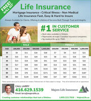 FREE!WILL KITLife InsuranceMortgage Insurance Critical Illness Non MedicalLife Insurance Fast, Easy & Hard to InsureAlways Available for Clients, Offering A Lifetime of Services Built Through Trust and Integrity.IN CUSTOMERSERVICE#1NBest rates available in Ontario.Represents all major Canadian insurance companies. No medical life up to 750K.- MALE -- FEMALE -AGE500,000 1,000,000 100,000100,000250,000500,000 1,000,000250,000$935$11$16$28$7$9$13$21$1340$10$20$33$8$11$16$2645$13$19$28$51$10$14$20$32$1750$28$44$83$14$20$31$5655$24$44$76$143$20$32$53$10260$39$76$141$271$30$53$97$187$6365$129$249$482$47$87$162$311*Rates quoted above are for preferred non smokers. Preferred term 10. Rates subject to change. Free will kit delivered with an appointment.CALL LARRY416.629.1539Majers Life InsuranceEmail: larry@majerslife.caCreating customer relationships that last a lifetime.1.855.222.7816 | MajersLife.ca FREE! WILL KIT Life Insurance Mortgage Insurance Critical Illness Non Medical Life Insurance Fast, Easy & Hard to Insure Always Available for Clients, Offering A Lifetime of Services Built Through Trust and Integrity. IN CUSTOMER SERVICE #1N Best rates available in Ontario. Represents all major Canadian insurance companies.  No medical life up to 750K. - MALE - - FEMALE - AGE 500,000 1,000,000 100,000 100,000 250,000 500,000 1,000,000 250,000 $9 35 $11 $16 $28 $7 $9 $13 $21 $13 40 $10 $20 $33 $8 $11 $16 $26 45 $13 $19 $28 $51 $10 $14 $20 $32 $17 50 $28 $44 $83 $14 $20 $31 $56 55 $24 $44 $76 $143 $20 $32 $53 $102 60 $39 $76 $141 $271 $30 $53 $97 $187 $63 65 $129 $249 $482 $47 $87 $162 $311 *Rates quoted above are for preferred non smokers. Preferred term 10. Rates subject to change. Free will kit delivered with an appointment. CALL LARRY 416.629.1539 Majers Life Insurance Email: larry@majerslife.ca Creating customer relationships that last a lifetime. 1.855.222.7816 | MajersLife.ca