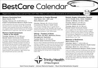 BestCare CalendarRegistration is required. Call toll-free 1-877-783-7262 or visit Classes and Events at stfranciscare.orgWomen's Drumming CircleMaria Eberle, R.N.Introduction to Couples MassageJulie Olson, B.A., LMT, andBarry Wixsom, LMTBariatric Surgery Information SeminarJon R. Pirrello, M.D., FACS, FASMBS;James G. Bittner, IV, M.D., FACSTuesday, February 25 | 6:30-8:00 p.m.Krapek Comprehensive Women's Health Center Saturday, February 29| 10 a.m.12 p.m.Thursday, March 5 |6-7:30 p.m.Center for Health EnhancementCome experience the joys of drumming. Drumminghas been found to decrease stress. No experienceneeded. Some djembe drums will be available; whenyou register please indicate whether you are bringinga djembe drum or need one. Cost: $15 per sessionComprehensive Women's Health CenterThe couples massage class is a great way toconnect with your partner. Benefits may include:enhanced relaxation, stress and tension relief, andlower blood pressure. Cost: $25/coupleThursday, March 19 | 6-7:30 p.m.Mandell Jewish Community CenterJoin a surgeon from the Bariatric Center at SaintFrancis Hospital to learn about bariatric surgeryoptions, and the process before, during, and afterthe procedures. Registration is required. Registerby calling 877-783-7262 or via stfranciscare.org/Women's Health Symposium-South of Your BorderQiGong - Freedom of StressRisa Gaull, BS MQT, Wellness/StressManagement SpecialistTuesday March 3 | 6-7:30 p.m.Mandell Jewish Community CenterAre you tired of feeling overwhelmed and exhausted? Saturdays, March 7| 10-11:30 a.m.QiGong is designed to make you feel all your tensionmelt away as you calm your mind and energize yourbody using the deep breathing and slow, flowingmovements of ancient Chinese healing exercisescalled qigong (Cee-Gong means Energy Work).Cost: FreeThursday, February 27| 6-7:30 p.m.Mandell Jewish Community Centerbariatriccenter Cost: FreeWelcome to MindfulnessMaria Eberle, R.N.Join Saint Francis Hospital and the Mandell JCCof Greater Hartf