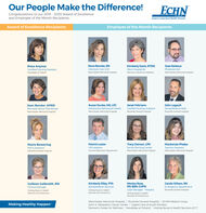 Our People Make the Difference!ECHNCongratulations to our 2019 - 2020 Award of Excellenceand Employee of the Month Recipients.Eastern Connecticut Health NetworkAward of Excellence RecipientsEmployee of the Month RecipientsRosa AnyosaCertified Nursing AssistantRena Berube, RNIntensive Care UnitManchester Memorial HospitalKimberly Davis, RT(M)MammographerJose DeJesusPhlebotomistWoodlake at TollandWomen's Center for WellnessManchester Memorial HospitalJanet FelicianoCertified Nursing AssistantRockville General HospitalSusan Dunko, MS, LPCJohn LegaultJean Bender, APRNNeonatal Nurse PractitionerAdolescent Behavioral HealthRehabilitation AideManchester Memorial HospitalManchester Memorial HospitalRockville General HospitalTracy Ostrout, LPNFamily Birthing CenterPatrick LesterMackenzie PhelpsMaria BoweringPACS AssistantHR AssistantTeacher AssistantRockville General HospitalHuman Resources DepartmentManchester Memorial HospitalManchester Memorial HospitalKimberly Riley, PTAColleen Galbraith, RNClinical ManagerMonica Ross,RN, BSN, CHPNCase Manager - HospiceCarole Wilson, RNEmergency DepartmentRockville General HospitalRehabilitation ServicesVisiting Nurse & HealthServices of ConnecticutVisiting Nurse & HealthServices of ConnecticutVisiting Nurse & HealthServices of ConnecticutManchester Memorial Hospital | Rockville General Hospital | ECHN Medical GroupJohn A DeQuattro Cancer Center | Urgent Care at South WindsorWomen's Center for Weliness | Woodlake at Tolland | Visiting Nurse & Health Services of CTMaking Healthy Happen Our People Make the Difference! ECHN Congratulations to our 2019 - 2020 Award of Excellence and Employee of the Month Recipients. Eastern Connecticut Health Network Award of Excellence Recipients Employee of the Month Recipients Rosa Anyosa Certified Nursing Assistant Rena Berube, RN Intensive Care Unit Manchester Memorial Hospital Kimberly Davis, RT(M) Mammographer Jose DeJesus Phlebotomist Woodlake at Tolland Women's Center for Wellness Manchester Memoria