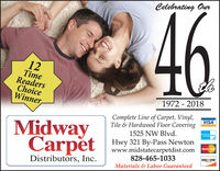 Celebrating Our4612TimeReadersChoiceWinner,1972 - 2018Complete Line of Carpet, Vinyl,Tile & Hardwood Floor CoveringVISAMidwayCarpetCard1525 NW Blvd.t Hwy 321 By-Pass NewtonMasterCardwww.midstatecarpetdist.com828-465-1033DISCOVERNEWOREDistributors, Inc.Materials & Labor Guaranteed Celebrating Our 46 12 Time Readers Choice Winner, 1972 - 2018 Complete Line of Carpet, Vinyl, Tile & Hardwood Floor Covering VISA Midway Carpet Card 1525 NW Blvd. t Hwy 321 By-Pass Newton MasterCard www.midstatecarpetdist.com 828-465-1033 DISCOVER NEWORE Distributors, Inc. Materials & Labor Guaranteed