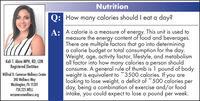 NutritionQ: Howmany calories should I eat a day?A: A calorie is a measure of energy. This unit is used tomeasure the energy content of food and beverages.There are multiple factors that go into determininga calorie budget or total consumption for the day.Weight, age, activity factor, lifestyle, and metabolismall factor into how many calories a person shouldconsume. A general rule of thumb is 1 pound of bodyweight is equivalent to 3500 calories. If you arelooking to lose weight, a deficit of 500 calories perday, being a combination of exercise and/or foodintake, you could expect to lose a pound per week.Kali T. Aloia MPH, RD, LDNRegistered DietitianWilfred R. Cameron Wellness Center240 Wellness WayWashington, PA 15301724.225.WELLwrcameronwellness.org Nutrition Q: How many calories should I eat a day? A: A calorie is a measure of energy. This unit is used to measure the energy content of food and beverages. There are multiple factors that go into determining a calorie budget or total consumption for the day. Weight, age, activity factor, lifestyle, and metabolism all factor into how many calories a person should consume. A general rule of thumb is 1 pound of body weight is equivalent to 3500 calories. If you are looking to lose weight, a deficit of 500 calories per day, being a combination of exercise and/or food intake, you could expect to lose a pound per week. Kali T. Aloia MPH, RD, LDN Registered Dietitian Wilfred R. Cameron Wellness Center 240 Wellness Way Washington, PA 15301 724.225.WELL wrcameronwellness.org