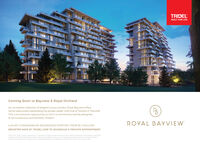 TRIDELBUILT FOR LIFEComing Soon to Bayview & Royal OrchardAn incredible collection of elegant luxury condos, Royal Bayview offershome-sized suites overlooking the private Ladies' Golf Club of Toronto in Thornhill.This is an exclusive opportunity to live in a community lavishly designedto be sumptuous and serenely modern,ROYAL BAYVIEWLUXURY CONDOMINIUM RESIDENCES STARTING FROM $1.2 MILLIONREGISTER NOW AT TRIDEL.COM TO SCHEDULE A PRIVATE APPOINTMENTand badiebe e s ngt Bga to e andto TRIDEL BUILT FOR LIFE Coming Soon to Bayview & Royal Orchard An incredible collection of elegant luxury condos, Royal Bayview offers home-sized suites overlooking the private Ladies' Golf Club of Toronto in Thornhill. This is an exclusive opportunity to live in a community lavishly designed to be sumptuous and serenely modern, ROYAL BAYVIEW LUXURY CONDOMINIUM RESIDENCES STARTING FROM $1.2 MILLION REGISTER NOW AT TRIDEL.COM TO SCHEDULE A PRIVATE APPOINTMENT and badiebe e s ngt Bg a to e andto