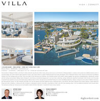 """VILLAHIGH I CORKETTLUE1 COLLINS ISLAND I NEW LISTING I OPEN: SAT 1-4 PM & SUN 1-3 PMNewport Beach I $9,995,000 I 1Collinsisland.com4 bedroom 1 4.5 bathroom I 7,003 approx. sq. ft. lot I private pier and slip for 60' boatFew locations in Newport Harbor rival historic Collins Island for spectacular harbor views, privacy and access to all of the fun of Newport Beach. Located on the western tip of Balboa Island, across asecured bridge, lies Collins Island's eight waterfront homes. One Collins Island is a stylish Traditional-style home with 270 degree views of Newport harbor's main channel, turning basin and BalboaPavilion; from this vantage point you have """"front row seats"""" to the morning crew workouts, all of boating activity of the harbor, saling regattas, the auto-ferry, paddleboarders, spectacular sunsetsand the holiday boat parades. Balboa Island, Newport's most famous recreational playground, is out your door, swimming. sailing, stroling the waterfront boardwalk, Dad's Donuts, and ChocolateCovered Frozen bananas are just a short walk away on Marine Ave or a Ferry ride gets you to the World Famous Fun Zone and Balboa Beaches. Ready to beacon its next owner's Balboa memories,this well-cared for house, rich with character and style, has it all, the perfect oversized waterfront deck. hardwood floors: a big kitchen with white cabinetry and counter seating, a large waterfrontliving room with a fireplace, a dining area with a fireplace, a downstairs bedroom and bath, a big bayfront master suite with """"jaw dropping views,"""" and two additional bedrooms with ensuite baths.The extensive private pier and slip can accommodate a boat to 60 feet. Remodel, or rebuild the home of your dreams.STEVE HIGHEVAN CORKETT949 874 4724949 285 1055SHIGH@VILLAREALESTATE.COMO @HIGH_CORKETTDRE No. 00936421ECORKETT@VILLAREALESTATE.COMO @HIGH_CORKETTDRE No. 00468496highcorkett.com VILLA HIGH I CORKETT LUE 1 COLLINS ISLAND I NEW LISTING I OPEN: SAT 1-4 PM & SUN 1-3 PM Newport Beach I $9,995,000 I 1Co"""
