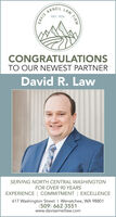 ARNEIL LAWEST, 1925CONGRATULATIONSTO OUR NEWEST PARTNERDavid R. LawSERVING NORTH CENTRAL WASHINGTONFOR OVER 90 YEARSEXPERIENCE | COMMITMENT | EXCELLENCE617 Washington Street I Wenatchee, WA 98801(509) 662-3551www.davisarneillaw.comFIRMDAVIS ARNEIL LAW EST, 1925 CONGRATULATIONS TO OUR NEWEST PARTNER David R. Law SERVING NORTH CENTRAL WASHINGTON FOR OVER 90 YEARS EXPERIENCE | COMMITMENT | EXCELLENCE 617 Washington Street I Wenatchee, WA 98801 (509) 662-3551 www.davisarneillaw.com FIRM DAVIS