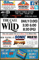 allenII ESTABLISHED 1912THE ATRESFOR SHOWTIMES, SPECIALS,& MOVIE INFO VISITwww.allentheatresinc.comMORENCI YouTube100 MAIN STREETAD) CCSHOW TIMES GOODFRI. 2/28 - THUR. 3/5ASK STAFFFOR MOREINFO!() MATINEES SAT-SUNONLY(928) 865-4666THE CALL DAILY (1:00)OF THE3:30 6:008:30 (PG)Want more options? Visit us in Safford, AZ for different films!NOW PLAYING AT SONIC BIRDS OF PREY.THE HEDGEHOGSTARGAZER 51998 W. THATCHER BLVDJUMANI TENISBLEMANTHE NEXT LEVELSHOWTIMES AVAILABLE ONLINE ATwww.allentheatresinc.com(Safford, AZ)CHECK YOURBALANCEONLINE!BUY GIFT CARDSLOIVANDICGCllenONLINE NOW!THEAT ENwww.alentheatresinc.comOEL69Z allen II ESTABLISHED 1912 THE ATRES FOR SHOWTIMES, SPECIALS, & MOVIE INFO VISIT www.allentheatresinc.com MORENCI You Tube 100 MAIN STREET AD) CC SHOW TIMES GOOD FRI. 2/28 - THUR. 3/5 ASK STAFF FOR MORE INFO! () MATINEES SAT-SUN ONLY (928) 865-4666 THE CALL DAILY (1:00) OF THE 3:30 6:00 8:30 (PG) Want more options? Visit us in Safford, AZ for different films! NOW PLAYING AT SONIC BIRDS OF PREY. THE HEDGEHOG STARGAZER 5 1998 W. THATCHER BLVD JUMANI TENISBLEMAN THE NEXT LEVEL SHOWTIMES AVAILABLE ONLINE AT www.allentheatresinc.com (Safford, AZ) CHECK YOUR BALANCE ONLINE! BUY GIFT CARDS LOIVANDICG Cllen ONLINE NOW! THEAT EN www.alentheatresinc.com OEL69Z