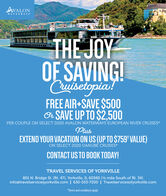 "AVALONWATERWAYSTHE JOYOF SAVING!Cruiselopia!FREE AIR+SAVE $500Or SAVE UP TO $2,500PER COUPLE ON SELECT 2020 AVALON WATERWAYS EUROPEAN RIVER CRUISES*PlusEXTEND YOUR VACATION ON US (UP TO $759' VALUE)ON SELECT 2020 DANUBE CRUISES*CONTACT US TO BOOK TODAY!TRAVEL SERVICES OF YORKVILLE801 N. Bridge St. (Rt. 47), Yorkville, IL 60560 (2 mile South of Rt. 34)info@travelservicesyorkville.com | 630-553-7200 | Travelservicesofyorkville.com""Terms and conditions apply. AVALON WATERWAYS THE JOY OF SAVING! Cruiselopia! FREE AIR+SAVE $500 Or SAVE UP TO $2,500 PER COUPLE ON SELECT 2020 AVALON WATERWAYS EUROPEAN RIVER CRUISES* Plus EXTEND YOUR VACATION ON US (UP TO $759' VALUE) ON SELECT 2020 DANUBE CRUISES* CONTACT US TO BOOK TODAY! TRAVEL SERVICES OF YORKVILLE 801 N. Bridge St. (Rt. 47), Yorkville, IL 60560 (2 mile South of Rt. 34) info@travelservicesyorkville.com 