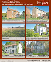 Land and Property AuctionThursday 26th March at IpmDiss Auction Rooms, Roydon Road, Diss IP22 4LNtwgazeGuide Price £280,000 - (320,000Set in 3.46ac and requiring full renovation. Edwardian detached house with great potential.EPC GGuide Price £125,000 - E150,000A 3 bedroom ex local authoricy end terrace, requiring updacing Front and rear gardens.Popular south city suburb. Excellent rental opportunity. Easy access to Al40 and A47.EPC GLot I- GristonLot 2- TuckswoodLot 3 - Banham2.539ha (6.27ac) Arable land.Guide Price £50,000 - (60,000Lot 4- GeldestonTwo storeys with cellar and scope to enlarge. Pretty period cottage with 3 bedrooms andprivate garden. Off road parking. Needs some updating/repair. No onward chain.Guide Price £150,000 - E180,000EPC EGuide Price £150,000 - C180,000A 3 bedroom coctage for improvement and room to extend with lovely views all set inEPC FGuide Price £120,000 - L150,000Lot 6 - ShipdhamA decached 3 bedroom cottage in 0.14ac. Needs modernisation and general repair. Greatpotential in popular village.Lot 5 - Blo Norton0.30ac.EPC FDiss01379 641 341info@twgaze.co.uk | twgaze.co.ukWymondham01953 423 188 Land and Property Auction Thursday 26th March at Ipm Diss Auction Rooms, Roydon Road, Diss IP22 4LN twgaze Guide Price £280,000 - (320,000 Set in 3.46ac and requiring full renovation. Edwardian detached house with great potential. EPC G Guide Price £125,000 - E150,000 A 3 bedroom ex local authoricy end terrace, requiring updacing Front and rear gardens. Popular south city suburb. Excellent rental opportunity. Easy access to Al40 and A47. EPC G Lot I- Griston Lot 2- Tuckswood Lot 3 - Banham 2.539ha (6.27ac) Arable land. Guide Price £50,000 - (60,000 Lot 4- Geldeston Two storeys with cellar and scope to enlarge. Pretty period cottage with 3 bedrooms and private garden. Off road parking. Needs some updating/repair. No onward chain. Guide Price £150,000 - E180,000 EPC E Guide Price £150,000 - C180,000 A 3 bedroom coctage for improvement and room to exten