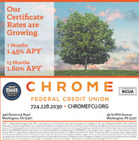 """OurCertificateRates areGrowing.7 Months1.45% APY13 Months1.60% APYCHROM E2019*bestPET OF THKNCUAFIRST PLACEOburer rpanerFEDERAL CREDIT UNION724.228.2030  CHROMEFCU.ORG440 Racetrack RoadWashington, PA 1530145 Griffith AvenueWashington, PA 15301""""APY - Annual Percentage Yield. APY is accurate as of 01/24/2020 and rates are subject to change at any time. Promotional APY offer effectiveFebruary 3, 2020 through March 31st, 2020 and is subject to change without notice. Offer valid on Consumer and IRA certificates only. Minimum openingdepasit of s1000requiredwith a $500,000 maximumtoreceive pramotional rate Certificate must be opened with 100% of new funds not currently ondeposit at CHROME Federal Credit Union. You must be eligible for membership at CHROME FCU. The 7 month certificate will earn a fixed rate of 1.440%with an APY of 1.45% and the 13 month certificate will earn a fixed rate of 1.588% with an APY of 1.606. To earn this APY, all interest must remain in thecertificate for the entire term. The 7 month certificate will automatically renew at the existing 6 month certificaterate and the 13 month certificate willautomatically renew at the existing 12 month certificaterate at the time of renewal, uniess changes are made to your account during the ten-calendar-day grace period following maturity. Subject to penalty for early withdrawal - these fees could reduce the earnings of this account Our Certificate Rates are Growing. 7 Months 1.45% APY 13 Months 1.60% APY CHROM E 2019* best PET OF THK NCUA FIRST PLACE Oburer rpaner FEDERAL CREDIT UNION 724.228.2030  CHROMEFCU.ORG 440 Racetrack Road Washington, PA 15301 45 Griffith Avenue Washington, PA 15301 """"APY - Annual Percentage Yield. APY is accurate as of 01/24/2020 and rates are subject to change at any time. Promotional APY offer effective February 3, 2020 through March 31st, 2020 and is subject to change without notice. Offer valid on Consumer and IRA certificates only. Minimum opening depasit of s1000requiredwith a $50"""