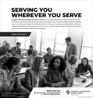 SERVING YOUWHEREVER YOU SERVEA change of duty station shouldn't interrupt your studies. University of Maryland Global Campus (UMGC) offers onlineand hybrid courses and more than 140 classroom and service locations around the world, including at military installtions,so you can continue your education no matter where your service takes you. Our dedicated military advisors can help younavigate reassignments, education benefits and more. Study at a respected state university founded more than 70 yearsago to serve military-affiliated students and working adults.Classes start March 16.MADE FOR YOUUNIVERSITY OF MARYLANDEfective July 1. 2019. University of Maryland University College (UMUC)changed ns name to University of Maryland Global Campus (UMGCall 301-278-2366 or visit umgc.edu/hybridfor a full list of hybrid locations.GLOBAL CAMPUSFormerly UMUCCertified to operate in Virginia by SCHEV.Quantico Corporate Center 525 Corporate Drive 101. Stafford VA 22554O 2000 University of Maryland Global Campus SERVING YOU WHEREVER YOU SERVE A change of duty station shouldn't interrupt your studies. University of Maryland Global Campus (UMGC) offers online and hybrid courses and more than 140 classroom and service locations around the world, including at military installtions, so you can continue your education no matter where your service takes you. Our dedicated military advisors can help you navigate reassignments, education benefits and more. Study at a respected state university founded more than 70 years ago to serve military-affiliated students and working adults. Classes start March 16. MADE FOR YOU UNIVERSITY OF MARYLAND Efective July 1. 2019. University of Maryland University College (UMUC) changed ns name to University of Maryland Global Campus (UMG Call 301-278-2366 or visit umgc.edu/hybrid for a full list of hybrid locations. GLOBAL CAMPUS Formerly UMUC Certified to operate in Virginia by SCHEV. Quantico Corporate Center 525 Corporate Drive 101. Stafford VA 22554 O 2000