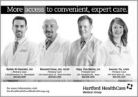 More access to convenient, expert care.Kefah Al-Ramahi, MDPrimary Care2 Northwestern Dr., Bloomfield860.696.4690Kipp Van Meter, DOPrimary Care100 Simsbury Rd., Avon860.696.4460Bennett Goss, MD, FACEPPrimary CareLauren Vo, APRNPrimary Care336 North Main St., West Hartford860.696.4400339 West Main St., Avon860.696.2150For more information, visitHartfordHealthCareMedicalGroup.orgHartford HealthCareMedical Group More access to convenient, expert care. Kefah Al-Ramahi, MD Primary Care 2 Northwestern Dr., Bloomfield 860.696.4690 Kipp Van Meter, DO Primary Care 100 Simsbury Rd., Avon 860.696.4460 Bennett Goss, MD, FACEP Primary Care Lauren Vo, APRN Primary Care 336 North Main St., West Hartford 860.696.4400 339 West Main St., Avon 860.696.2150 For more information, visit HartfordHealthCareMedicalGroup.org Hartford HealthCare Medical Group